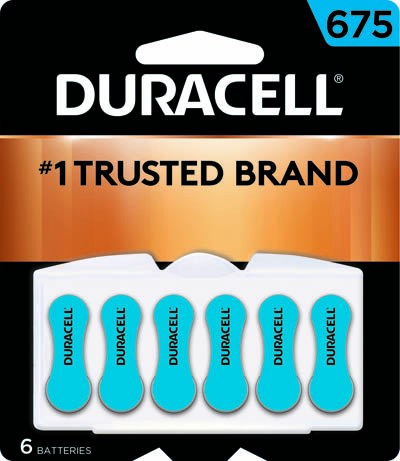 Photo of Duracell Size 675 Zinc Air Hearing Aid Battery, 6pk