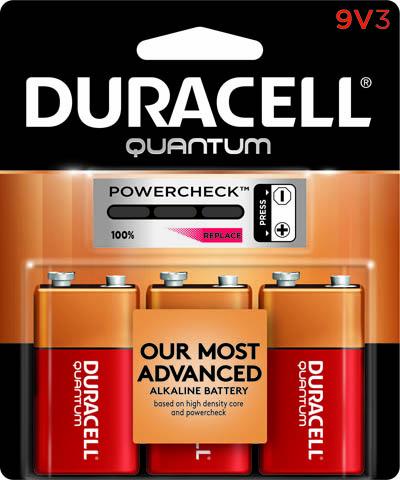 Photo of Duracell Quantum 9V Alkaline Battery, 3pk