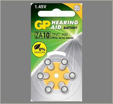 Photo of GP Size 10 Zinc Air Hearing Aid Battery, 6pk