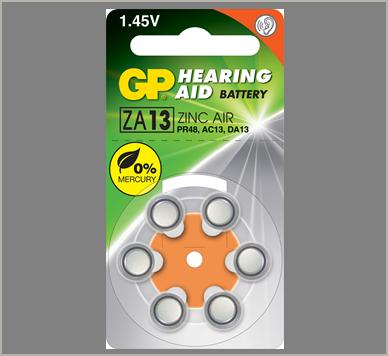 Photo of GP Size 13 Zinc Air Hearing Aid Battery, 6pk