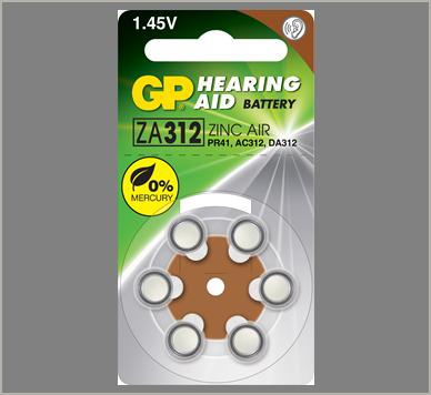 Photo of GP Size 312 Zinc Air Hearing Aid Battery, 6pk