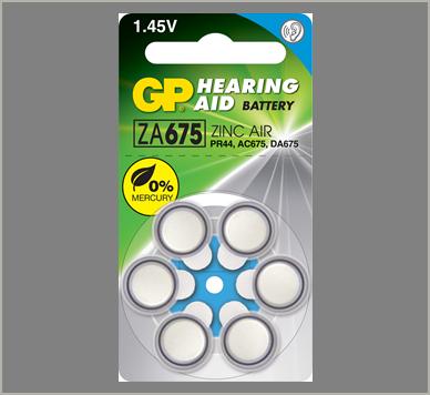 Photo of GP Size 675 Zinc Air Hearing Aid Battery, 6pk