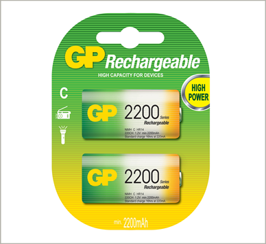 Photo of GP C NiMh Rechargeable Battery, 2pk