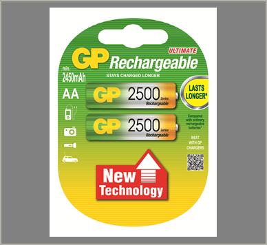 Photo of GP AA NiMh Rechargeable Battery, 2pk