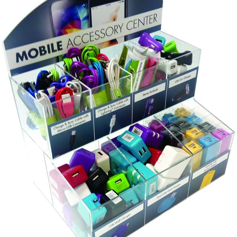 Photo of Hottips Mobile Accessory Display with Assorted Cables and Chargers