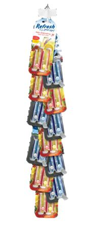 Photo of RYC Vent Sticks 4 Pack Clip strip. 6 Fresh Starawberry / Cool Lemonade and 6 New Car / Cool Breeze 4 Pack Clip Strips.